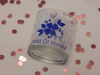 Personalised Wedding Tumbler Glass With Flower & Role